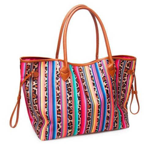 Trendy EthnicStyle Striped Leopard Soft Touch Handbag Shoulder Bag