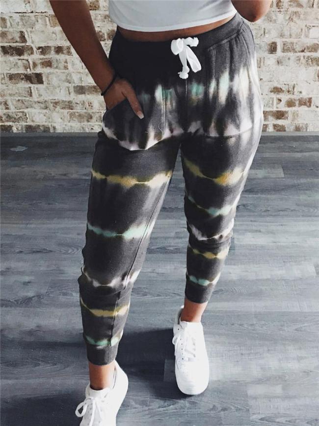 Comfortable Striped Tie-Dye Drawstring Pocket Sweatpants