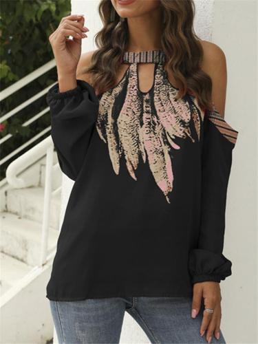 Fashion Chiffon Printed LongSleeve Cold Shoulder Shirt