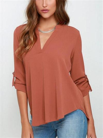 Relaxed Fit V Neck Solid Color Rolling Up Long Sleeve Chiffon Pullover Blouse