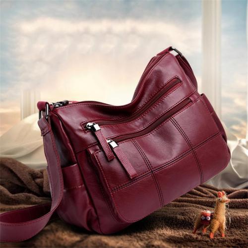 Fashion Multi-Pocket Adjustable Strap Leather Crossbody Bag