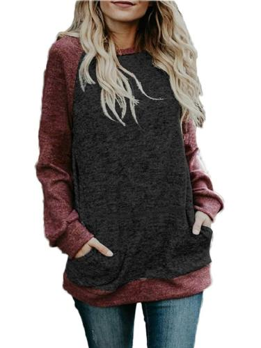 Relaxed Fit Long Sleeve Round Neck Patchwork Pocket Sweater