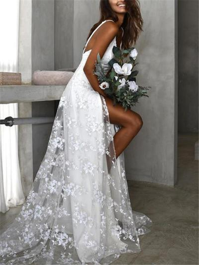 Spaghetti Strap Low V Neck Floral Lace High Slit Wedding Dress