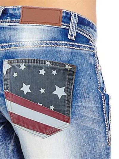 Fashion American Flag Stretch Jeans for Women