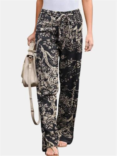 Elastic Waist Floral Printed Straight-Legged Pants