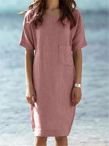 Relaxed Fit Round Neck Short Sleeve Solid Color Pocket Linen Midi Dress