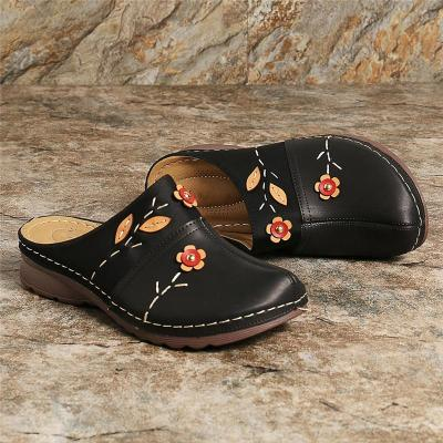 Comfy Closed-Toe Floral Deco Soft Footbed Wedge Heel Slippers