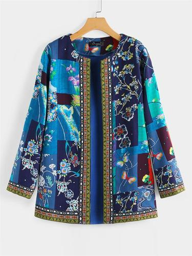 Women's Vintage Collar Printed Jacket