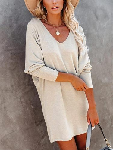 Casual Style V Neck Solid Color Long Sleeve Pullover Mini Dress