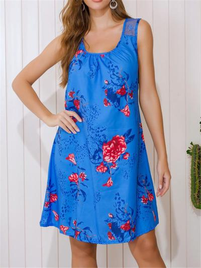 Stylish Scoop Neck Floral Lace Sleeveless A-Lined Pullover Dress