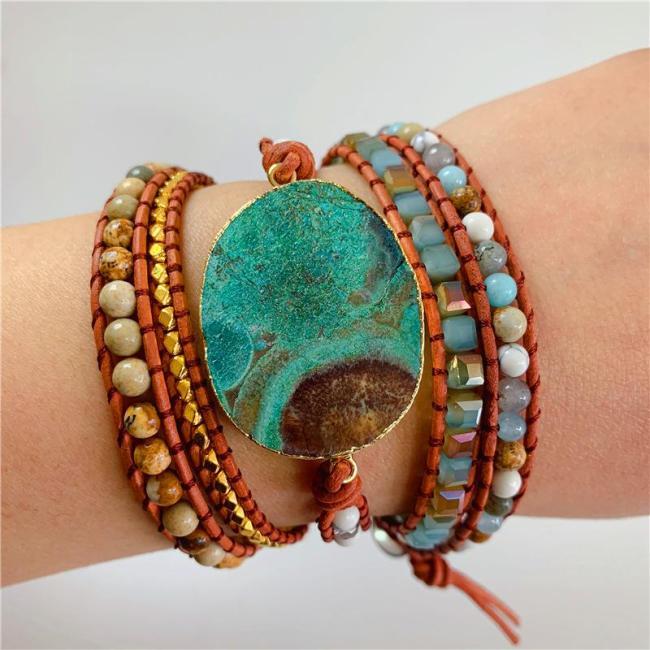Boho Style Natural Marine Stone Beaded Multi-Wrap Bracelet