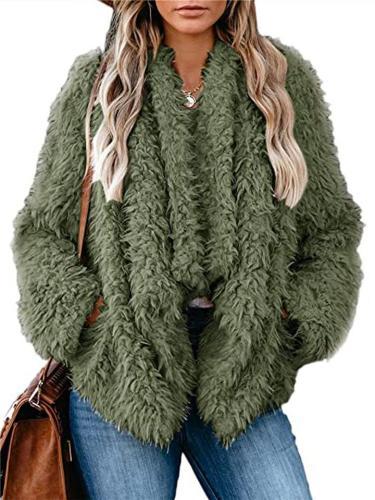 Ultra Cozy Plush Fur Open Front Solid Color Pocket Coat