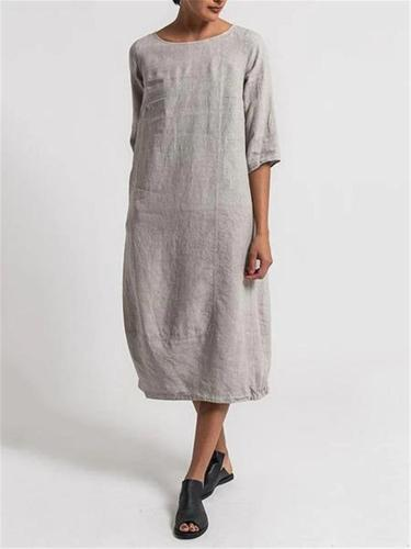 Casual Fit Round Neck Half Sleeve Solid Color Linen Midi Dress