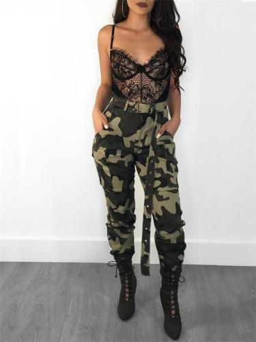 Fashion Casual Camouflage Printed High-waisted Pants