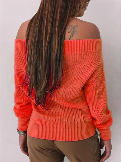 Casual Style Off Shoulder Ribbed Knitted Pullover Sweater