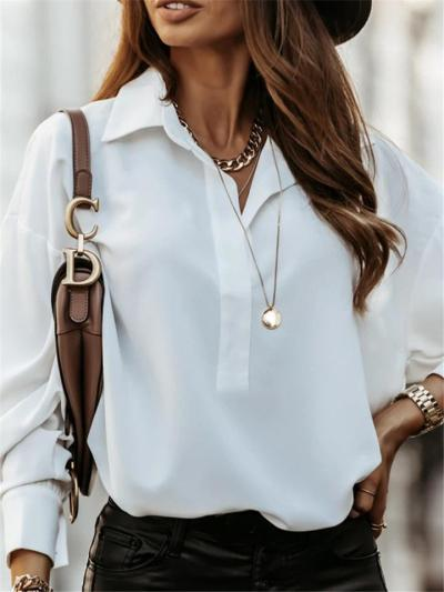 Loose Fit Lapel Collar Long Sleeve Solid Color Pullover Tops