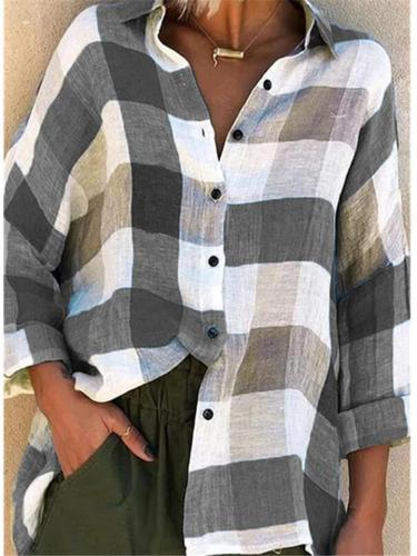 Comfortable Plaid Front Button Collar Blouse