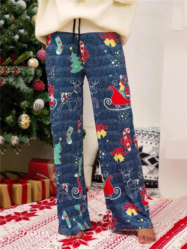 Christmas Themed Printed Straight Wide Leg Drawstring Trousers