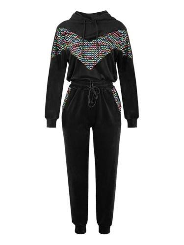Soft Touch Tracksuit Drawstring Hooded Sweatshirt + Elastic Waist Pocket Pants