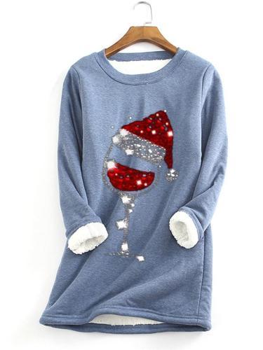 Cute Christmas Theme Print Faux FleeceSweatshirt