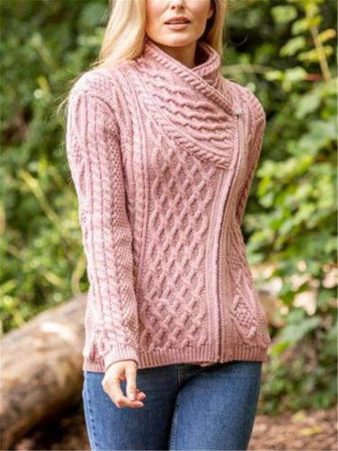 Ultra Cozy Turtleneck Front Zipper Ribbed Knit Sweaters