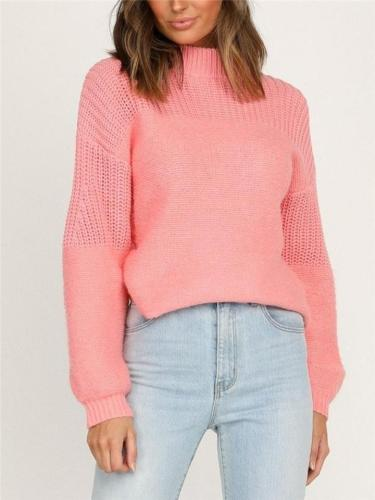 Relaxed Fit Solid Color Ribbed Knit Pullover Sweater