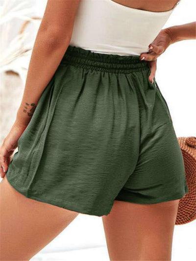 Relaxed Fit Elastic Waist Drawstring High-Rise Pocket Shorts