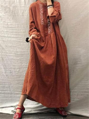 Vintage Style Round Neck Long Sleeve Cotton Pullover Maxi Dress