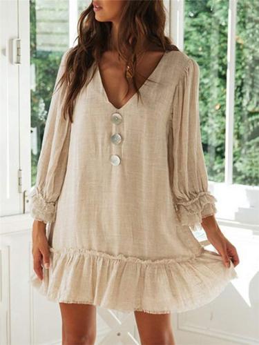 Casual Style V Neck Ruffle Hem Long Sleeve Cotton Linen Mini Dress