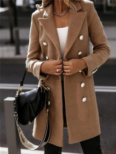 Trendy Notched Lapel Collar Double-Breasted Blazer Midi Length Coat
