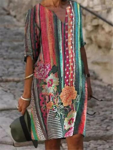 Relaxed Fit V Neck Floral Printed Half Sleeve Straight Midi Dress