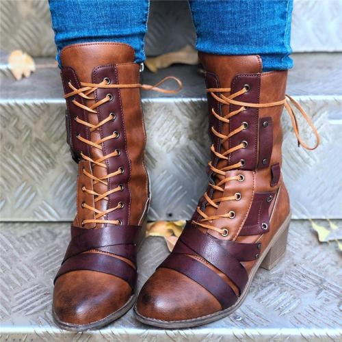 Retro Style Lace Up Side Zipper Artificial Leather Chunky Heel Boots