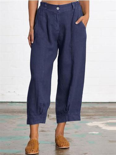 Casual Style Button Solid Color Wide Leg Pocket Cotton Linen Pants