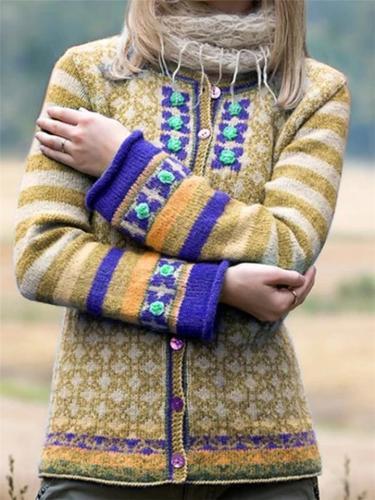 Casual Printed Cardigan Sweater Coat