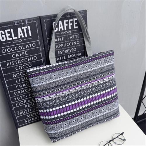 Large Capacity Striped Polka Dot Zipper Canvas Shoulder Bag