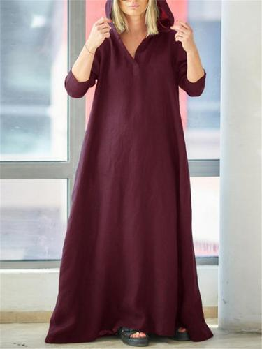 Casual Style Cotton Linen Solid Color Pocket Hooded Maxi Dress