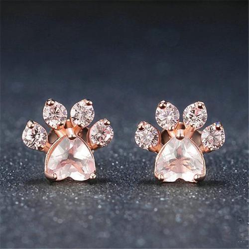 Pretty Cute Bear Feet Pink Crystal Earring Studs
