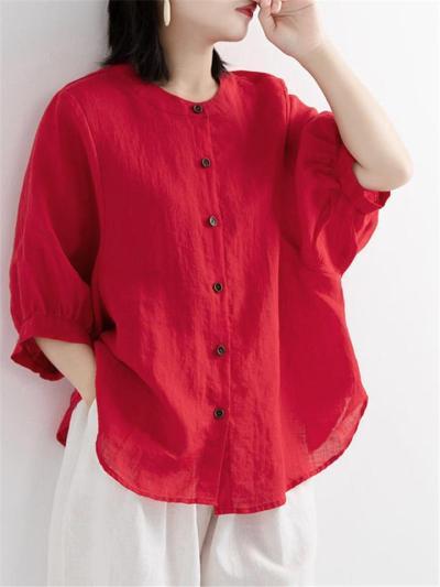 Minimalist Style Round Neck Button Up 3/4 Sleeve Lightweight Blouse