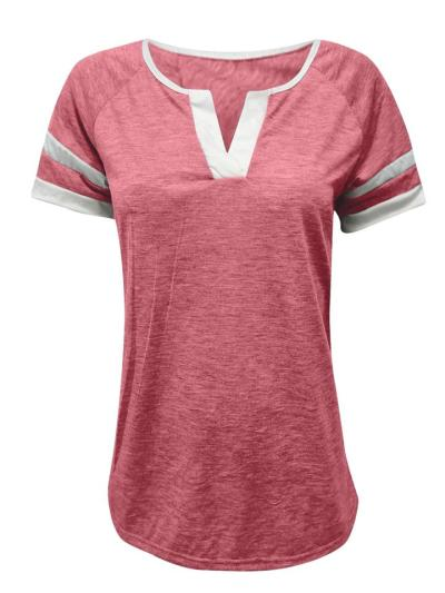 Regular Fit Notched V Neck Contrasting Short Sleeve Pullover T-Shirt