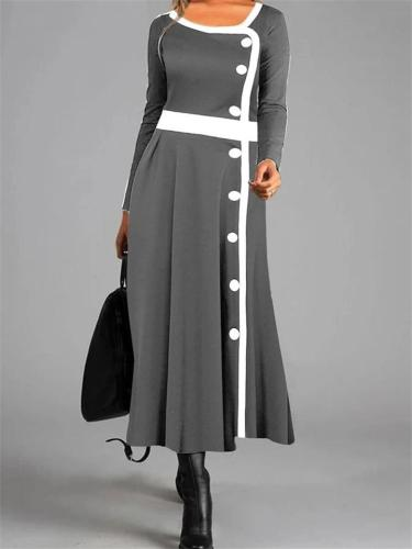 Relaxed Fit Round Neck A-Lined Long Sleeve Button Maxi Dress