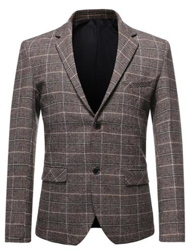 Mens Business Classic Plaid Buttons Pockets Long Sleeve Suit