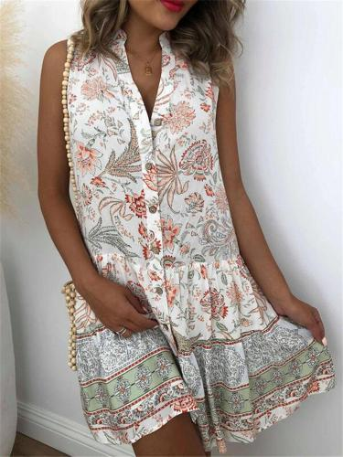 Trendy Button Up Stand Collar Sleeveless Floral Pleated Midi Dress