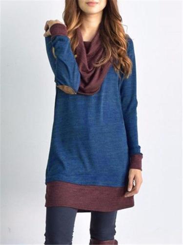 Regular Fit Cowl Neck Contrasting Long Sleeve Pullover Mini Dress
