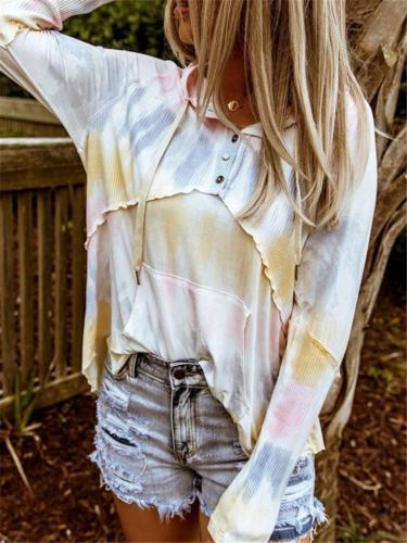Comfortable Tie Dye Hooded Shirt with Draw String