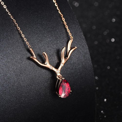 Sweet Style Deer Women Necklace Rose Gold Ruby Necklace Gold Plated Necklace For Gift