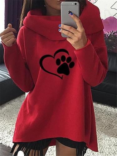 Comfortable Heart Printed Long Sleeve Pullover Hooded Sweatshirt