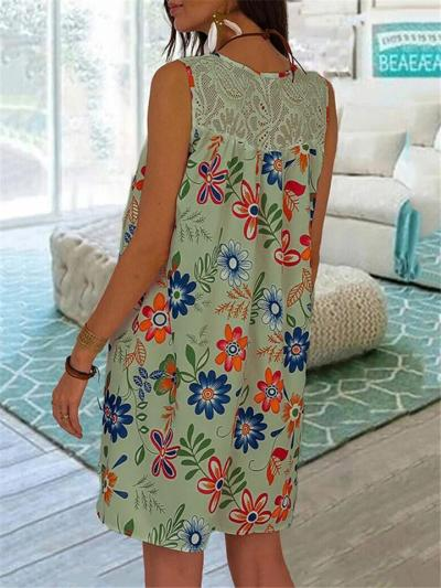 Fashionable Round Neck Sleeveless Floral Printed A-Lined Pullover Dress