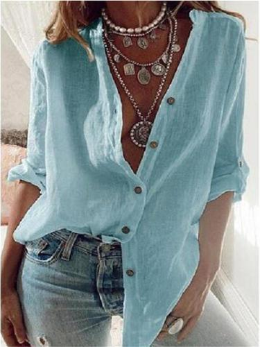 Casual Fit Front Button Up Solid Color Cotton Blouse