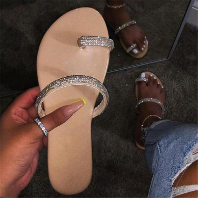Casual Style Lightweight Toe-Ring Rhinestone Deco Flat Slippers