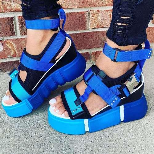 Women's Fashion Platform Velcro Block Sandals
